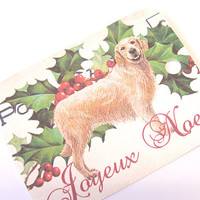 Christmas Golden Retriever Gift Tags , Set Of 6 , French , Joyeux Noel  Tags , Holly Leaf Tags , Dog Tags, French Christmas Tags