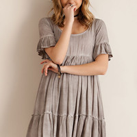 Acid Washed Baby Doll Dress - Mocha