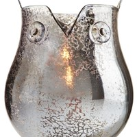 Small Candle Luminary Smoke Mercury Glass Owl