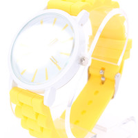 Yellow Detailed Round Face Rubber Watch