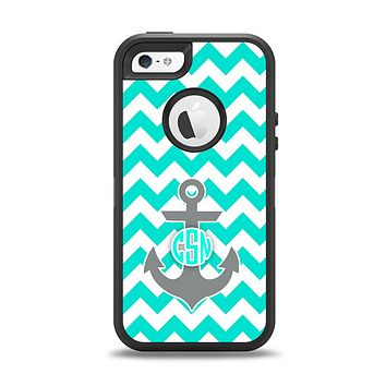 The Teal Green and Gray Monogram Anchor on Teal Chevron Apple iPhone 5-5s Otterbox Defender Case Skin Set