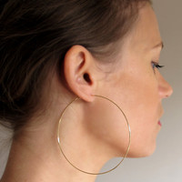 Gold Large Hoop Earrings / 3 inch Thin Gold Hoops / Elegant Classic Design 14k Gold Filled  Jewelry / Fashion Jewelry / Fashion Hoops