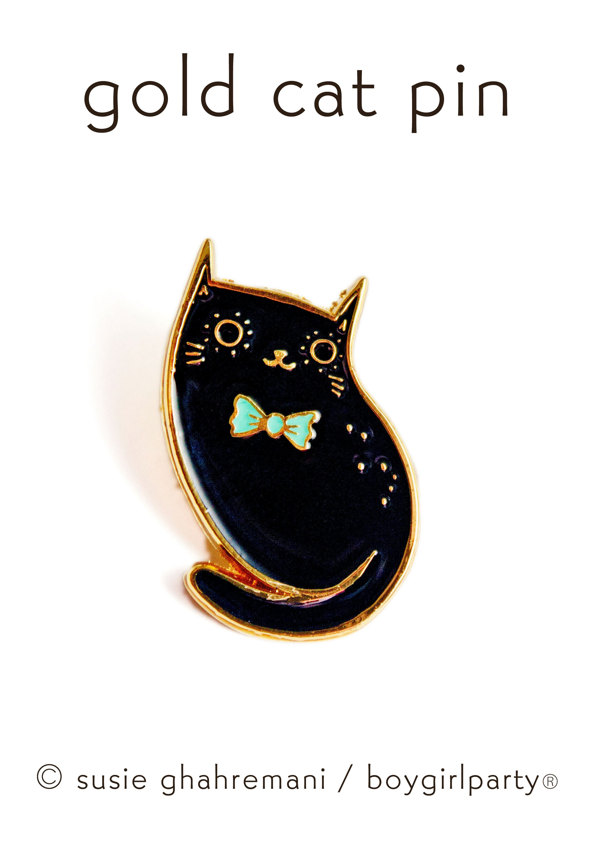 Image of Limited Edition Black Cat Pin (Gold) by boygirlparty