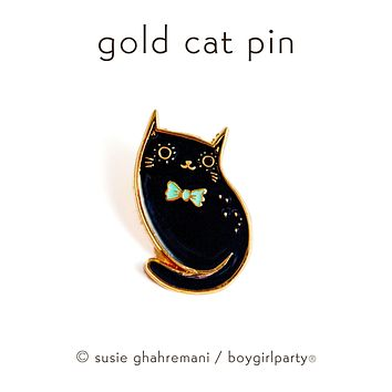 Limited Edition Black Cat Pin (Gold) by boygirlparty