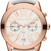 Michael Kors Rose Gold Tone Silver Dial Leather Strap MK2289 Watch
