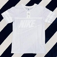 "Hot Sale ""Nike"" Trending Women Stylish Letter Print Mesh T-Shirt Top White I-XMCP-YC"