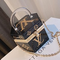 LV Louis Vuitton printed letter transparent jewelry box