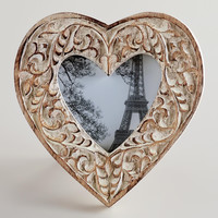Whitewashed Helena Heart Frame - World Market