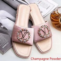 LV Louis Vuitton Popular Women Summer Beach Home Water Drill Sandal Slipper Shoes(6-Color) Champagne Powder I-ALS-XZ