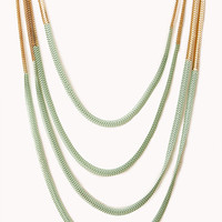 FOREVER 21 Neon Pop Layered Necklace Mint/Gold One