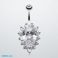 Sparkle Dazzle Droplet Multi Gem Belly Button Ring