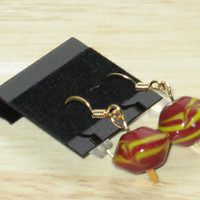 Earrings in Red and Yellow