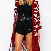 Red Geometric Pattern Tassel Cardigan Sweater