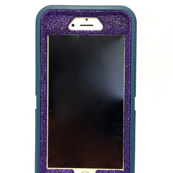 iPhone 6 (4.7 inch) OtterBox Defender Series Case Glitter Cute Sparkly Bling Defender Series Custom Case  Deep water blue / purpe