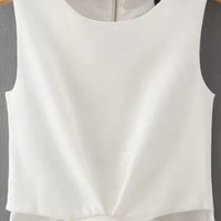 White Cut Out Sleeveless Cropped Tank Top