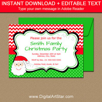 Christmas Party Invitations - Printable Christmas Invitations - Santa Invitation - EDITABLE Christmas Invitations - DIY Holiday Invites C4