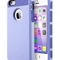 iPhone 5S Case, iPhone 5 Case,iPhone SE Case, ULAK Slim Fit Protection Case Shockproof Hard Rugged Ultra Protective Back Rubber Cover with Dual Layer Impact Protection(Light Purple+Purple)