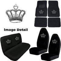 Crown Gem Crystal Studded Rhinestone Bling Car Truck SUV Floor Mats Bucket & Bench Seat Covers - Combo Kit Gift Set