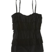 Cropped Tiered Ruffle Woven Cami -
