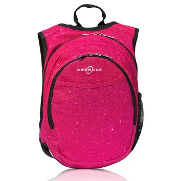 O3KCBP024 Obersee Mini Preschool Backpack for Girls with integrated Insulated Snack Cooler   Sparkle Pink Design