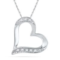 Diamond Accent Tilted Heart Pendant in 10K White Gold - View All Necklaces - Zales