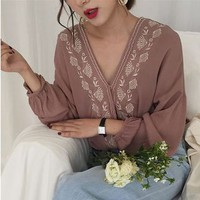 Buy Windflower Embroidery V-Neck Top | YesStyle