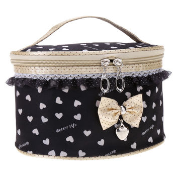 New Fashion Women's Sweet Lace Bowknot Travel Makeup Storage Bag Round Beauty Case Cosmetic Bag 6 Colors Free Shipping
