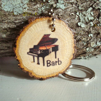Rustic Wood Keychain Made to Order Personalized Wood Slice Barb Piano