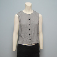 Vintage 1990's Gray and White Striped Crewneck Tank Top Blouse with Large Black Buttons - Slightly Cropped - Size Large