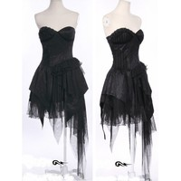 Sexy Black Lace Asymmetrical Corset Gothic Burlesque Prom Party Dress SKU-11402012