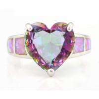 2.20ctw Mystic Topaz & Pink Opal .925 Sterling Silver ring