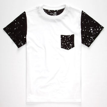 Blue Crown Paint Spatter Boys Pocket Tee Black/White  In Sizes