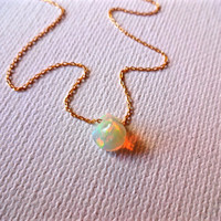 Rough Ethiopian Welo Opal Free Floating Natural Stone 14k Gold Fill Chain October Birthstone; Micro Opal Pendant; Welo Opal Grade AAA
