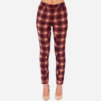 Red And Blue Plaid Pockets Pants