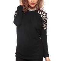 Black and Leopard Long Sleeve Top