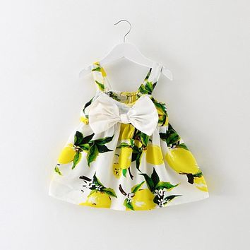 Cute Toddler Girl Slip Dress Sundress Baby Lemon Printed Boutique Clothes For Girls Kids Holiday Party Wear 1st Birthday Outfits