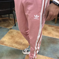 Adidas stripe couple sports pants trousers