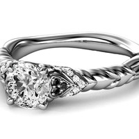 Engagement Ring - Black & White Diamond Rope Engagement Ring in 14K White Gold - ES1003WG