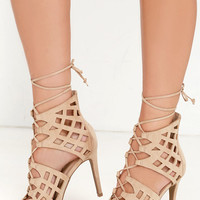 Any Which Way Natural Suede Caged Heels