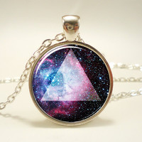 Galaxy Triangle Necklace, Hipster Nebula Jewelry, Universe Pendant (1166S1IN)