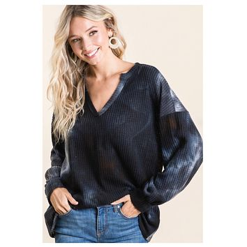 Adorable Black Tie Dye Puff Sleeve Sweater Top