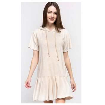 Adorable 70's Inspired Hooded Ivory Dress