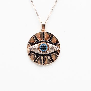 Evil Eye, Lucky Charm, Nazar  Necklace Blue,Clear,Black Turquoise and Zircon Round Curb Chain| 925 Sterling Silver