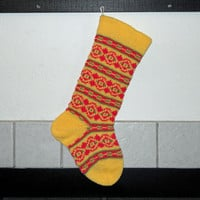 Hand Knit Christmas Stocking in Yellow, Striped Christmas Stocking, Fair Isle Christmas Stocking, can be personalized