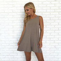 Lift Me Up Jersey Romper in Mocha