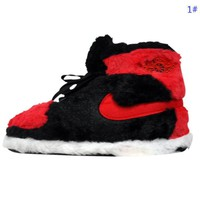 NIKE Autumn And Winter New Fashion Keep Warm Women Men Cotton Shoes