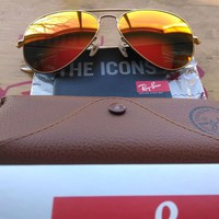 Womens Ray-Ban Aviator Authentic Sunglasses RB3025 gold orange mirror 112/69 58