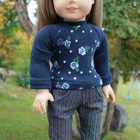 18 inch doll clothes, light blue and navy floral sweater, grey striped flare leg jeans, american girl ,maplelea