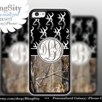Monogram Iphone 5C case Browning Black iPhone 5s iPhone 4 case Ipod 4 5 Touch case Real Tree Camo Deer Personalized Country Inspired Girl