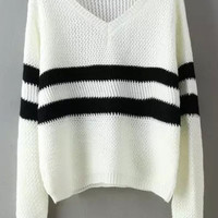 White V Neck Striped Long Sleeve Cropped Sweater